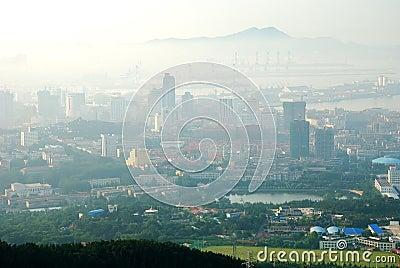 Urban mountain view with island