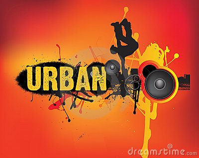 Urban music dance on orange