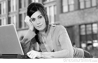 Urban Networking Woman Beny Over Laptop Computer