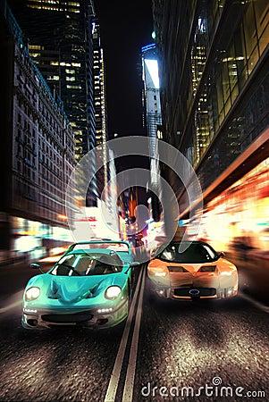 Urban night race car Editorial Image