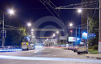 Urban night scene Editorial Stock Image