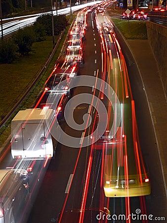 Urban night traffic lights