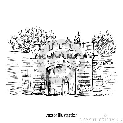 Free Urban Outline Ink Sketch Of Gate Astronomical Bastion, Russia, Kaliningrad, Russian Landmark, Hand Drawn Vector Graphic Royalty Free Stock Image - 80718426
