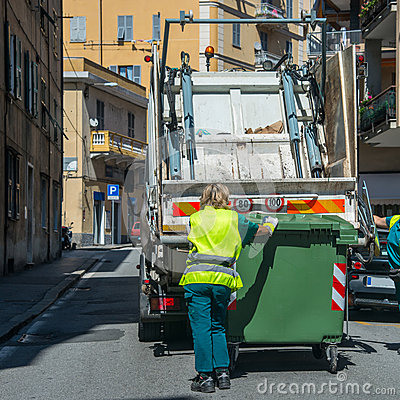 Urban recycling waste and garbage services Editorial Stock Photo