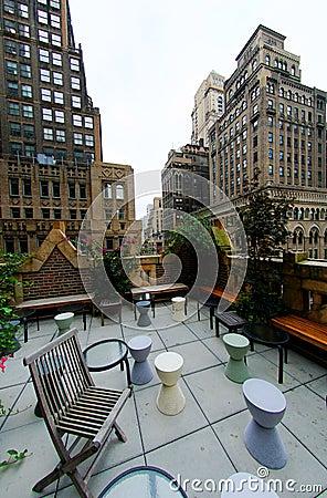 Urban rooftop terrace