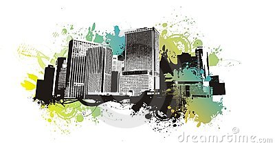 Urban scape on grunge background