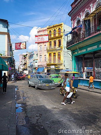 Urban scene in a well known street in Havana Editorial Photography