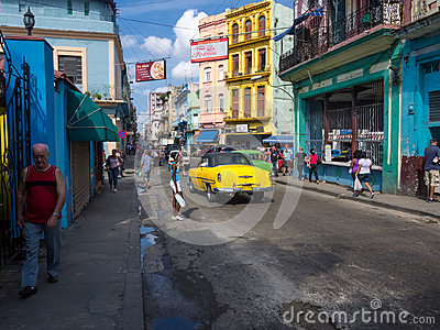 Urban scene in a well known street in Havana Editorial Image