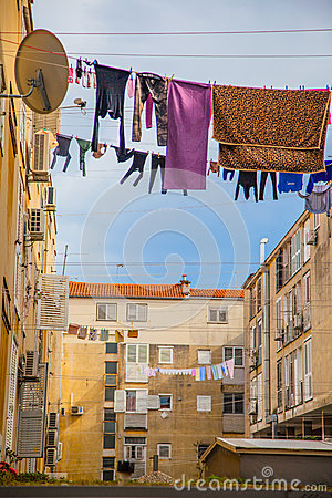 Free Urban Scene With Washing Line Stock Photos - 41222143