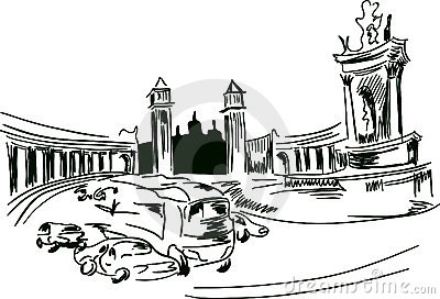 Urban sketch of plaza Espana, Barcelona