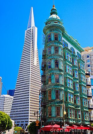 Urban skyline, old and new, downtown San Francisco Editorial Photo