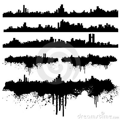 Urban skylines splatter collection