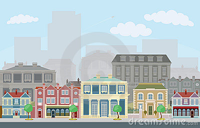 Urban street scene with smart townhouses