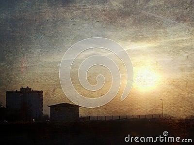 Urban Sunset (grunge image)