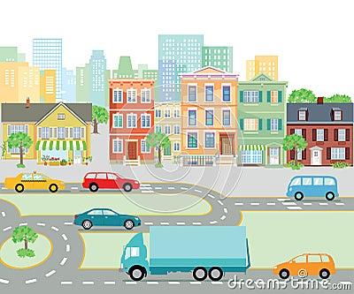 Urban traffic in the city, transport Vector Illustration