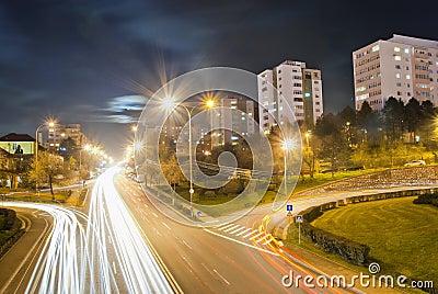 Urban traffic after nightfall