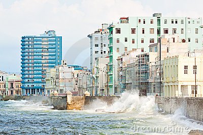 Urban view of Havana with a stormy sea