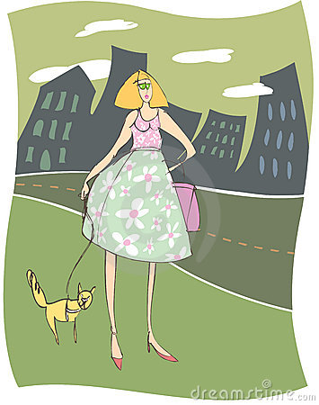 Urban Woman Walking Her Funny Cat