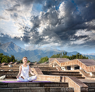 Urban Yoga meditation at mountains