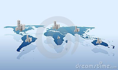 Urbanization on the world vector