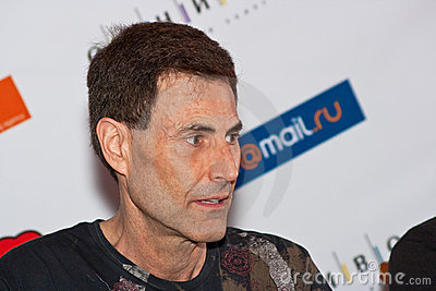 Uri Geller answers questions of journalists Editorial Photography