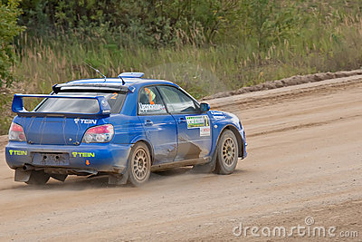 Uriy Volkov drives a Subaru Impreza  car Editorial Image