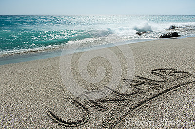 Urlaub written in the Sand