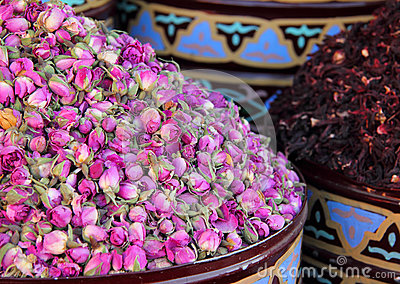 Urns of dried roses. Marrakesh, Morocco.