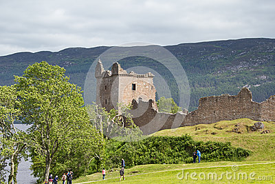 Urquhart Castle on the shores of Loch Ness Editorial Photo