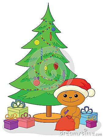 Urso da peluche, presentes e árvore de Natal