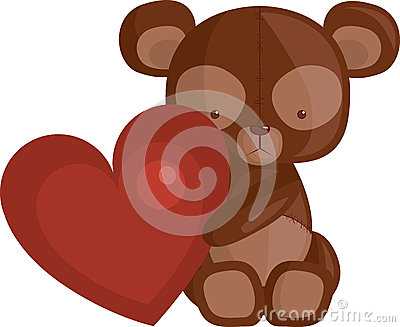 Urso do coração e da peluche