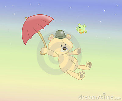 Urso enchido vôo
