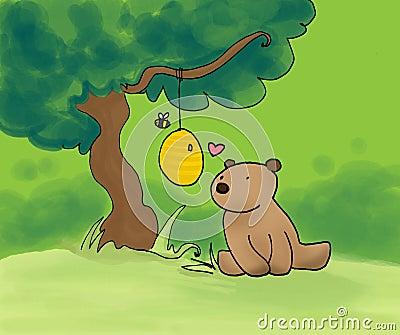 Urso, mel e abelha
