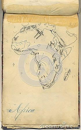 Ursprüngliche Weinlesekarte von Afrika
