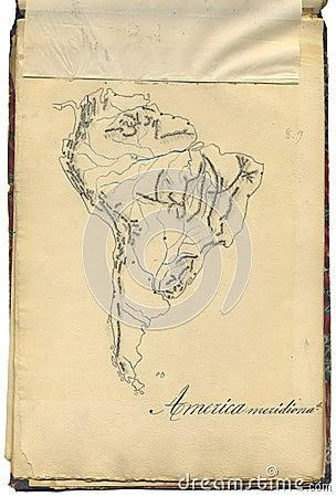 Ursprüngliche Weinlesekarte von Südamerika