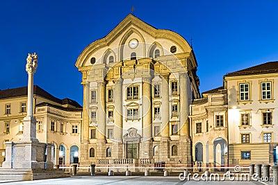 Ursuline Church kongressfyrkant, Ljubljana, Slovenien.