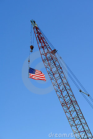 US American Flag on Construction Crane