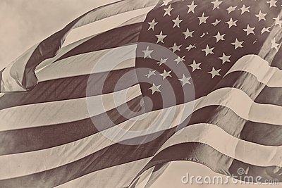 US American patriotic flag sepia retro vintage background