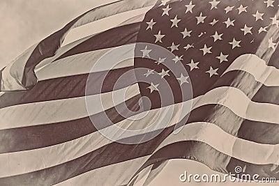 US American patriotic flag sepia retro vintage background
