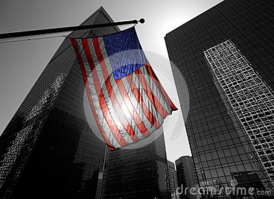 US american symbol flag over Black and white modern LA
