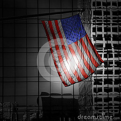 US american symbol flag over Black and white modern LA