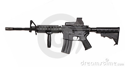 US Army M4A1 rifle with holographic sight.