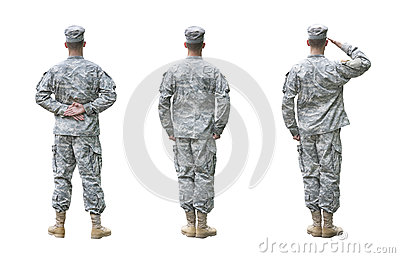 US Army soldier in three positions isolated on whi