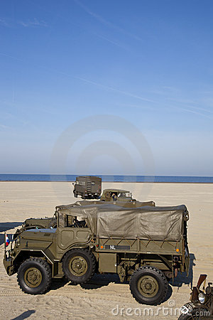 US army trucks and US army jeeps on beach Editorial Photography