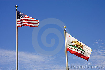 US and California Flag