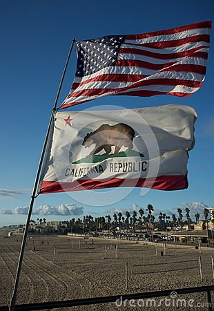 US and California state flags 2