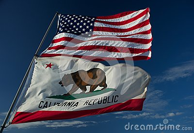US and California state flags