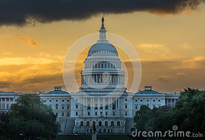 US Capital Sunrise Stock Photo