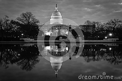 US Capitol building and mirror reflection in black and white, Washington DC, USA