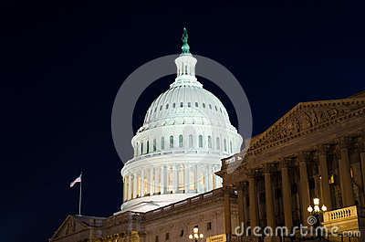 US Capitol building at night
